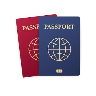 白で隔離される青と赤のパスポート。旅行のための国際的な身分証明書。図。