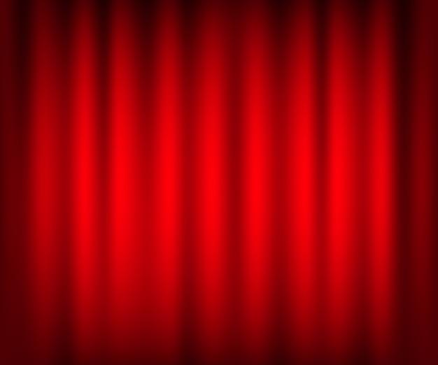 Развлекательные шторы для фильмов. красивый красный театр сложить занавески на черной сцене. иллюстрации.