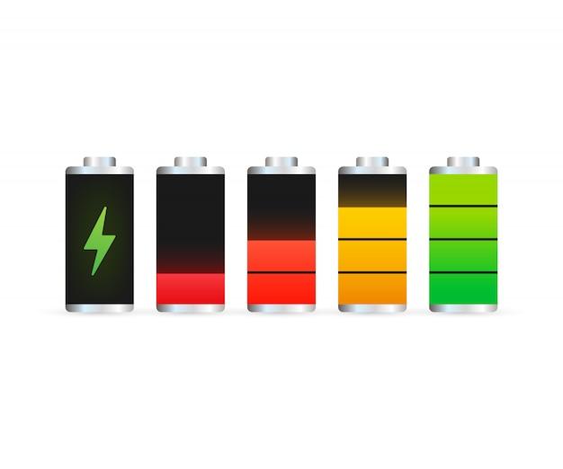 放電され、完全に充電されたバッテリーのスマートフォン。バッテリー充電レベルインジケーターのセット。図。