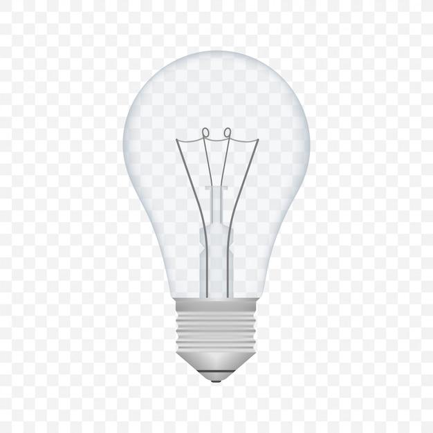 Реалистичная прозрачная лампочка. лампа, лампа накаливания. векторная иллюстрация штока.