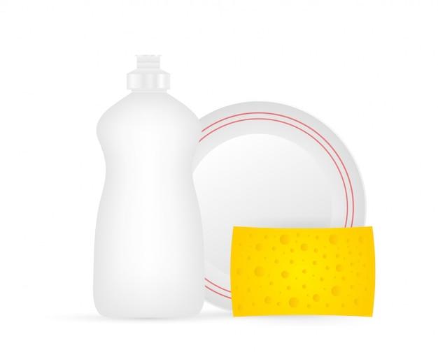 Мытье посуды, мытье посуды. средство для мытья посуды, посуда и желтая губка.