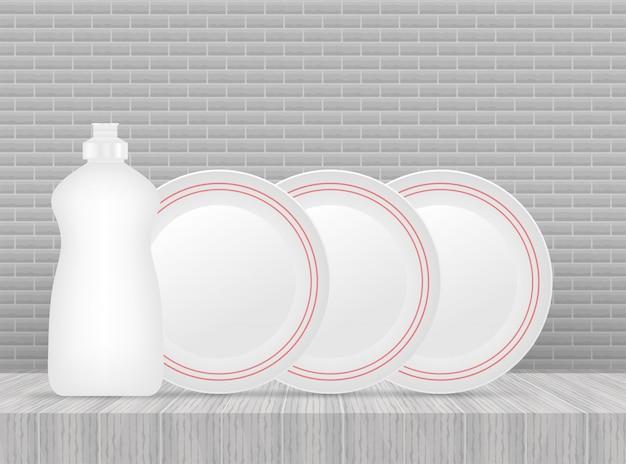 食器洗い、皿洗い。食器用洗剤、皿。 。