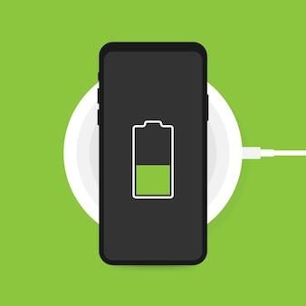 スマートフォンのワイヤレス充電。