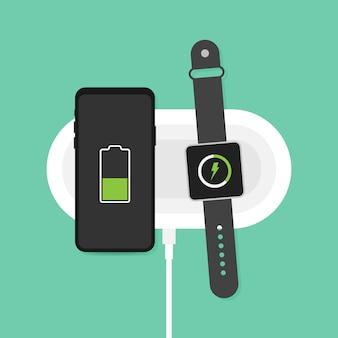 スマートフォンとスマートウォッチのワイヤレス充電。