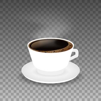 Горячий кофе в белой чашке и блюдце