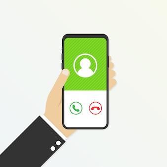 Входящий звонок на экране телефона. услуга вызова. рука держит смартфон, палец сенсорный экран. векторная иллюстрация
