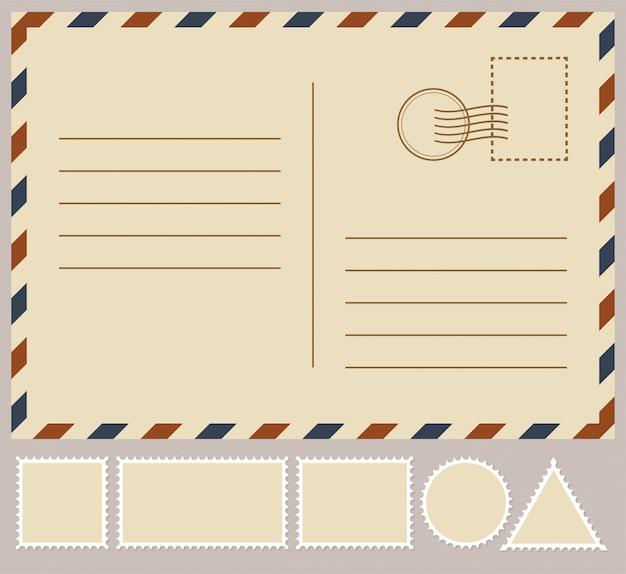 白で隔離される郵便カード