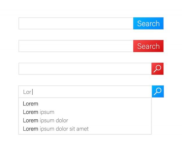 Панель поиска векторных элементов дизайна. набор панели поиска полей. шаблон интерфейса пользователя.