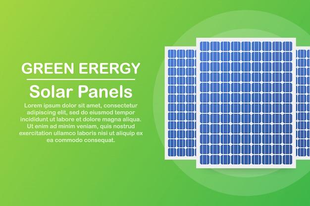 非常に詳細なソーラーパネル。現代の代替エコグリーンエネルギー。