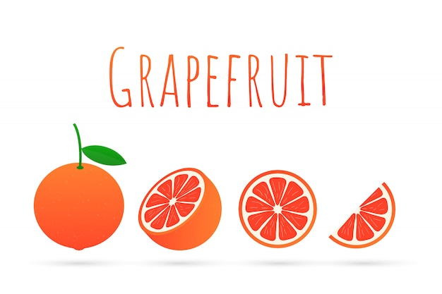 グレープフルーツ。グレープフルーツ全体とカット。