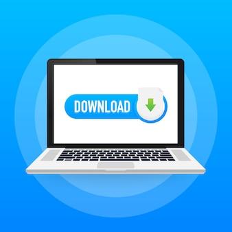 ノートパソコンとダウンロードファイルのアイコン。ドキュメントのダウンロードの概念。