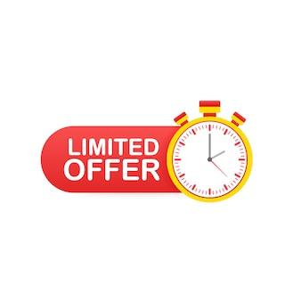 Ограниченное предложение этикетки. логотип обратного отсчета будильника. значок предложения ограниченного времени.