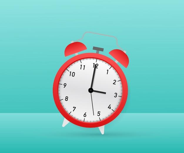 目覚まし時計の赤の目覚め時間。