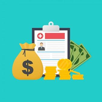 薬とお金の概念。健康保険フォームのコンセプト。医療文書の記入。