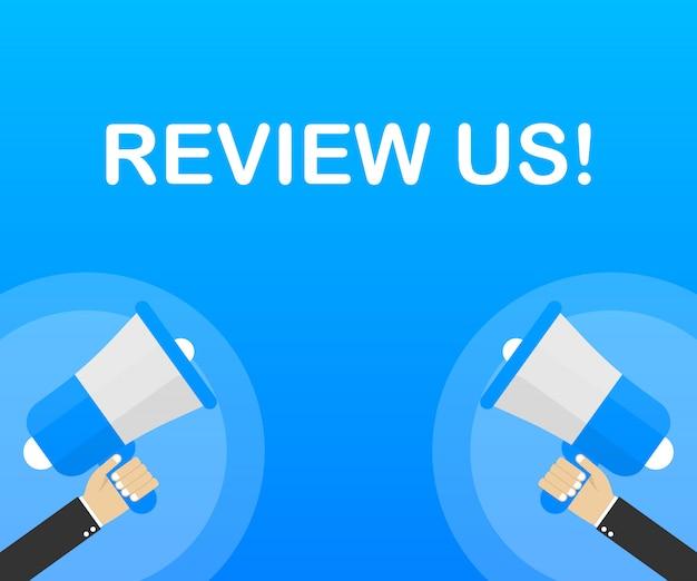 Отзыв нас! концепция рейтинга пользователя. просмотрите и оцените нас звезд. бизнес-концепция