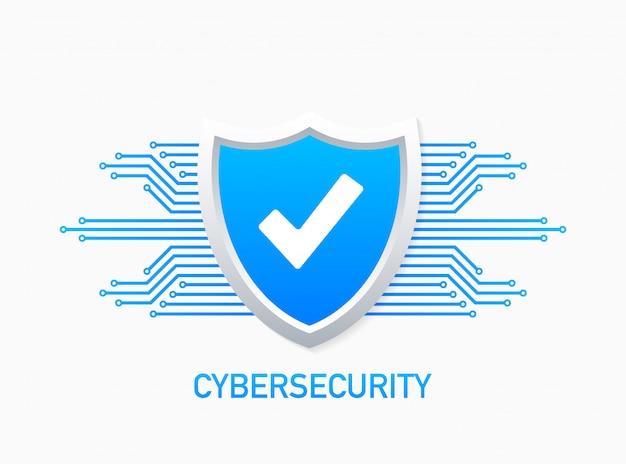 シールドとチェックマークが付いたサイバーセキュリティのロゴ。セキュリティシールドのコンセプト。インターネットセキュリティ。