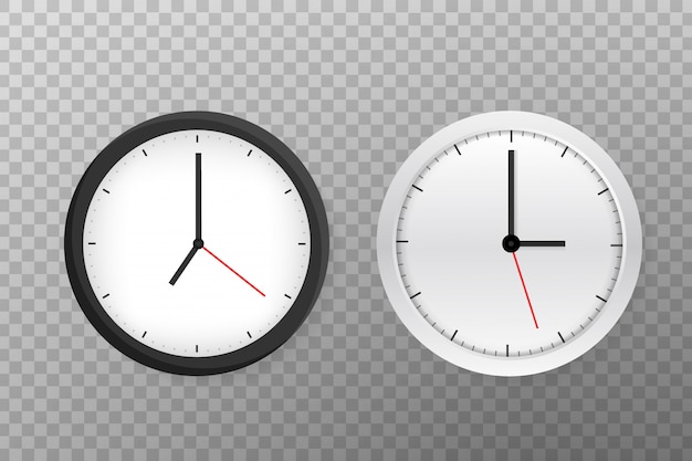 シンプルなクラシックな黒と白の丸い壁掛け時計。