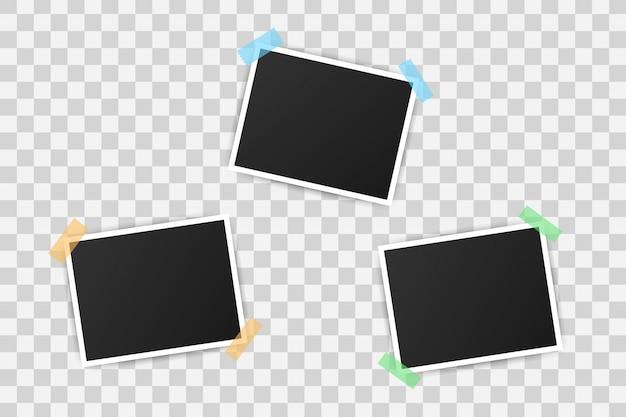 フォトフレームモックアップデザイン。あなたの画像の空白のある現実的な写真。