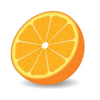 白い背景の上のオレンジ色の半分。
