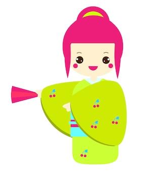 カラフルな着物姿のかわいいこけし。日焼けを保持している伝統的な日本の人形