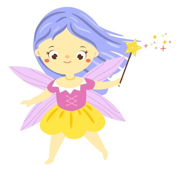 Милая фея с волшебной палочкой. садовый эльф, маленький пикси