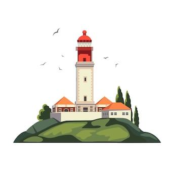海の海岸の灯台、島の灯台インフラストラクチャ。夏休み。ケープロック孤立した