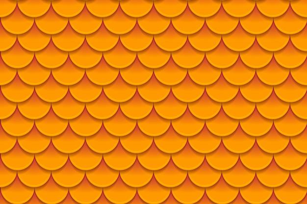 カラフルなオレンジ色の魚の鱗のシームレスパターン
