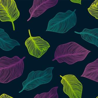 エキゾチックなヤシと熱帯のシームレスパターンを残します。モンステラ、ヤシ、バナナの葉。エキゾチックなテキスタイル植物デザイン。夏のジャングルデザイン。ハワイアンスタイル。