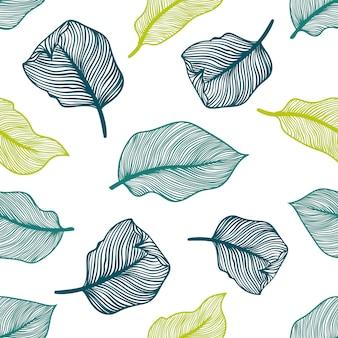 エキゾチックなヤシの葉を持つ熱帯のシームレスなパターン。