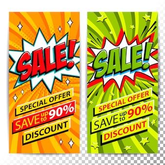 Продажа веб-баннера вертикального. поп-арт в стиле комиксов продажа скидка рекламные баннеры