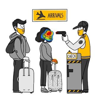 Коронавируса. пункт измерения температуры в пункте прибытия в аэропорту. карантинные меры. распространение вируса, пандемия.