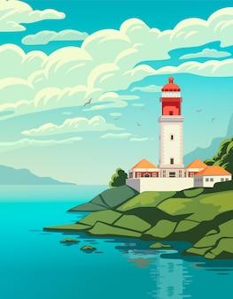 海の海岸の灯台