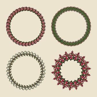 手描きの背景の花輪。緑色の背景で丸い植物飾り。
