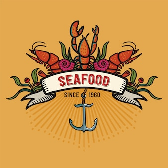 漫画のスタイルのシーフード。黄色の背景にレストランのロゴ