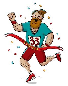 男ランナーがフィニッシュラインを横切る