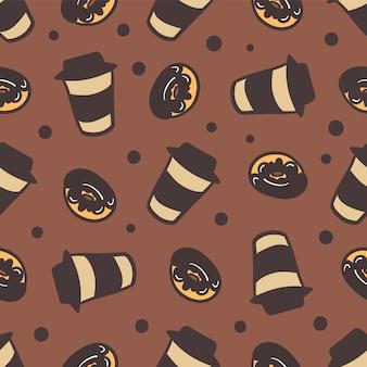 Бесшовный фон из чашки кофе и вкусные пончики.