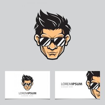 Прохладный человек логотип и визитка