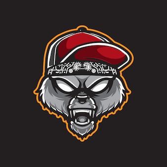 Голова хипстера гризли, шаблон логотипа медведя