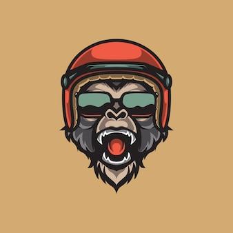 Обезьяна байкер талисман логотип, автоспорт эмблема