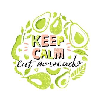 Набор зеленых фруктов авокадо и модные надписи.