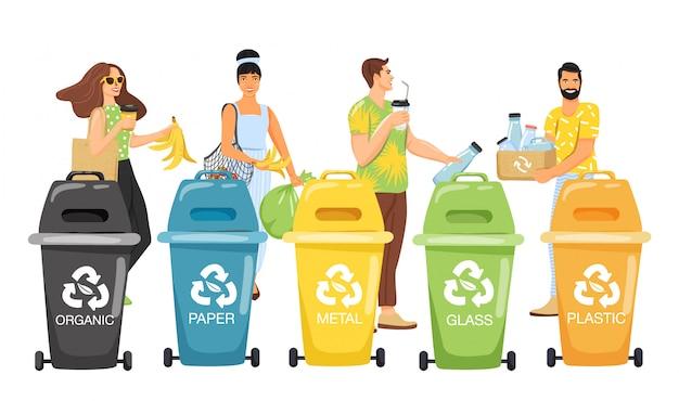 リサイクル。ごみを容器に分別してリサイクルする人々。