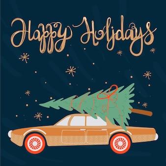 幸せな休日。クリスマスのグリーティングカード。