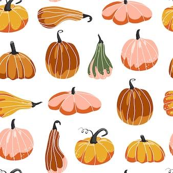 Осенний бесшовный образец, различная форма тыкв.