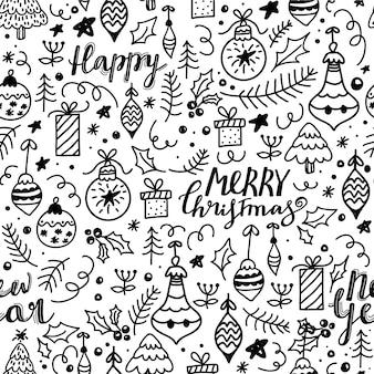 メリークリスマスと新年あけましておめでとうございますシームレスパターン。