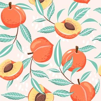 桃とのシームレスなパターン。夏の雰囲気
