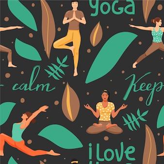 Бесшовный фон с женщинами в разных позах йоги.