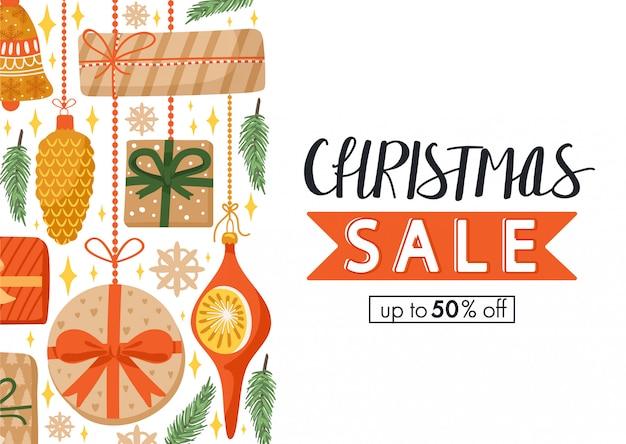 Рождественская распродажа рисованной баннер