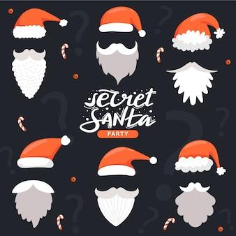 サンタクロースの帽子、口ひげ、あごひげとサンタの秘密の招待状。