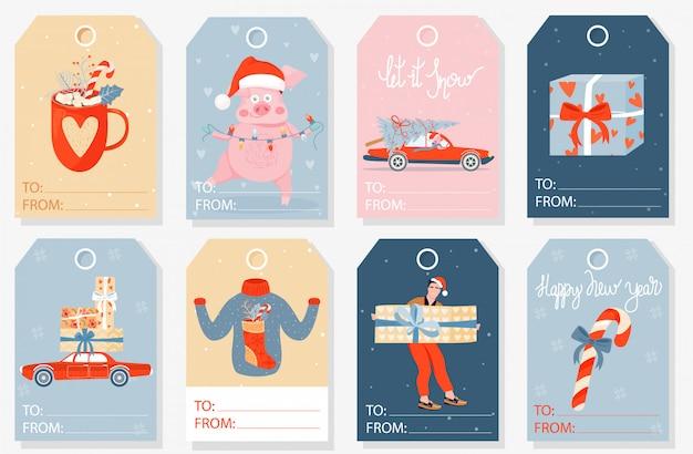 Коллекция рождественских подарочных тегов.