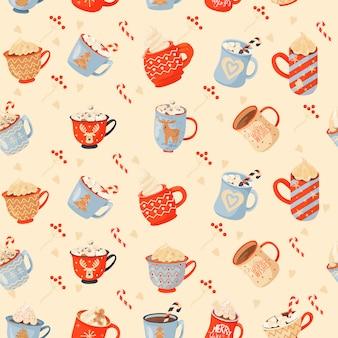 カカオ、ギフト、ロリポップのマグカップとシームレスなクリスマスのパターン。